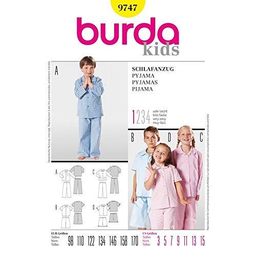 Burda B9747 Patron de Couture Pyjama 19 x 13 cm