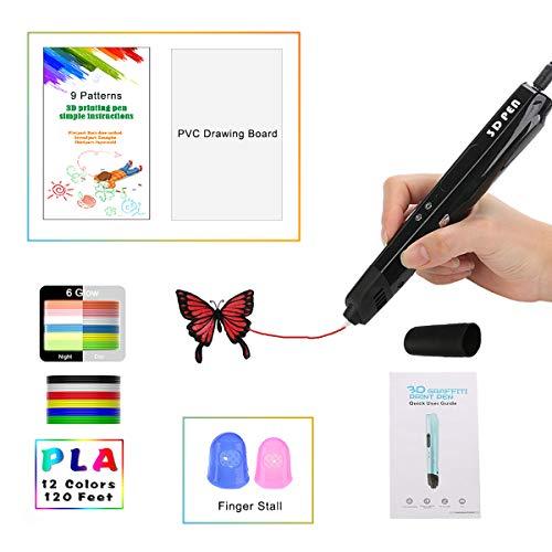 3D Stift mit LED-Anzeige größer, Motor Militär, gloss UV Beschichtung, 9 Papierschablonen, 12 PLA, 2 Ärmel der Fingern, Silikonkappe/Kompatibel mit Glühfaden PLA und ABS VICTORSTAR VT-B660(Schwarz)