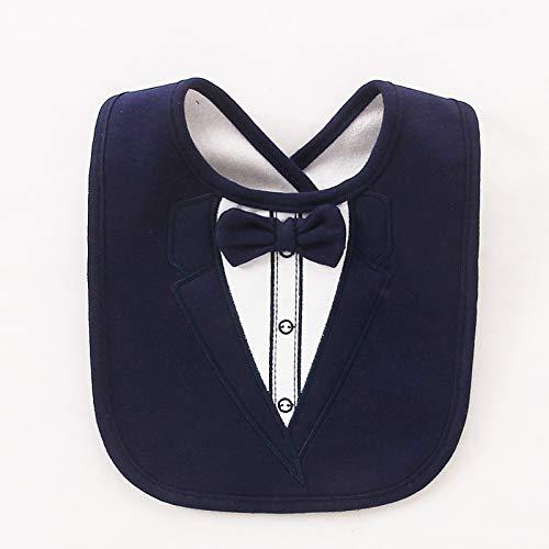 Macxy - Babylätzchen 3 Ebenen Wasserdichtes Babys Tuxedo Lätzchen für Kinder Abendessen Feeding Bib Saliva Handtuch Kind Red Bow Tie Gentleman Baberos [dunkelblau] Dark Red Bow Tie