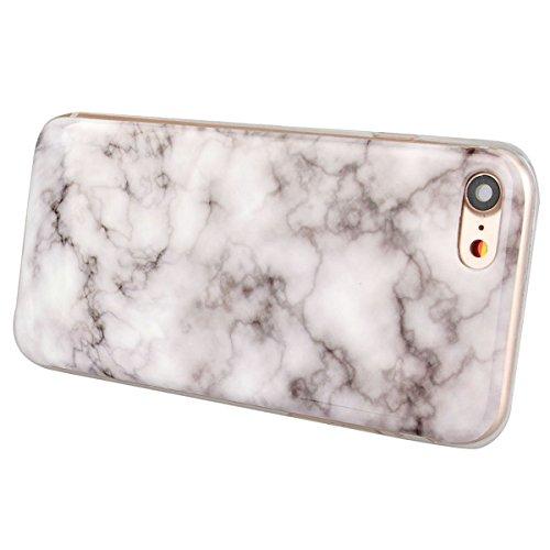 """GrandEver Coque iPhone 7 4.7"""" Marbre en Blanc Silicone Gel TPU Rigide Vintage Design Souple Étui Housse Protecteur de Protection Case Anti-Choc Anti-Rayures Marble HousseiPhone 7 Blanc Gris"""