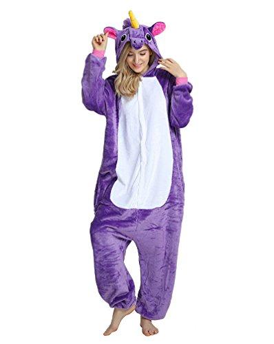 MissFox Männer Frauen Unisex Kigurumi Kostüm Anime Tier Cosplay Hoodie Onesie Erwachsene Pyjamas Karikatur Halloween Nachtwäsche (Kostüme Mann Erwachsene)