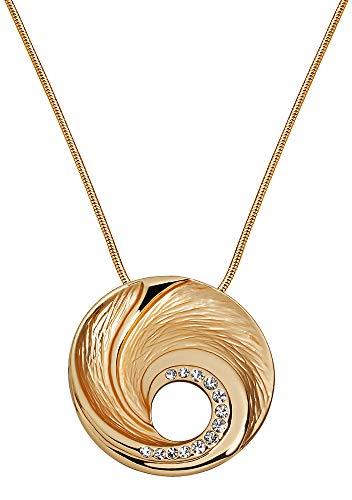 Perlkönig Kette Halskette | Damen Frauen | Silber Gold Farben | Runder Anhänger | Glitzer Steine | Nickelfrei