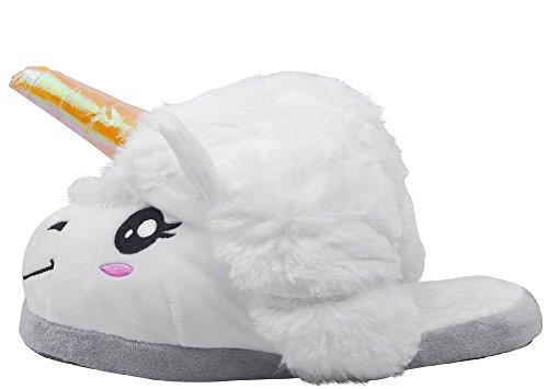 Tier Schlafanzug Erwachsene - BienBien Einhorn Pyjamas Kostüm Jumpsuit Karneval Cosplay Kostüm Unisex Kigurumi Tieroutfit Unisex Weiße Einhorn Hausschuhe