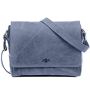 "SID & VAIN Messenger Bag echt Leder Laptoptasche Spencer XL groß Businesstasche 15.6"" Laptop Umhängetasche Laptopfach Ledertasche Herren"