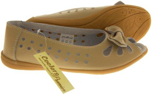 Footwear Studio, Ballerine donna beige/berry/black/blue/navy blue/pink/white Beige (Beige (Bow))