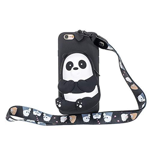 Miagon Silikon Hülle für iPhone 6 Plus / 6S Plus,3D Süß Brieftasche Lager Tasche Design mit Halskette Kordel Schnur Handykette Necklace Band,Schwarz Bär