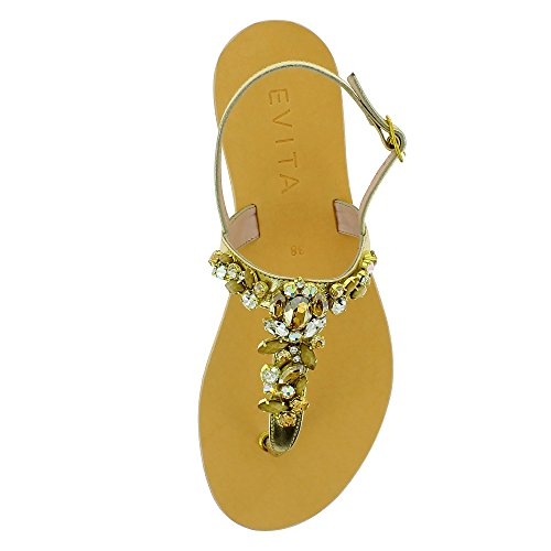 GRETA Damen Sandale Glattleder Gold