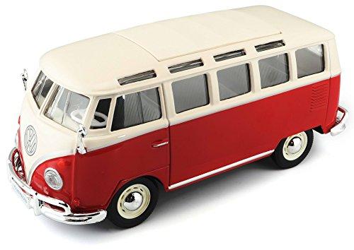 Maisto VW Bus Samba: Originalgetreues Modellauto VW T1 mit Vordertür und Heckklappe zum Öffnen, Maßstab 1:25, Fertigmodell, 17 cm, rot-weiß (531956)