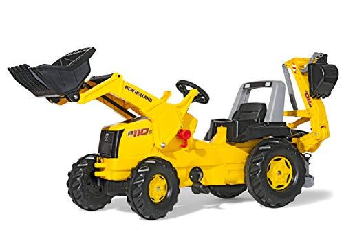Rolly Toys rollyJunior NH Construction Trettraktor (mit Heckbagger, für Kinder ab 3 Jahre, Flüsterlaufreifen) 813117