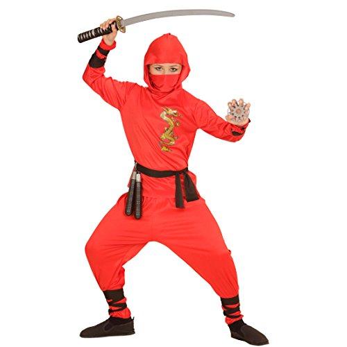 NET TOYS Rotes Ninja Kostüm Kind Ninjakostüm Samurai S 128 cm Krieger Soldatenkostüm Junge Kung Fu Jungenkostüm Kinder Faschingskostüm Soldat Kampfsport Kinderkostüm