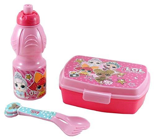 Set Pranzo 4pz LOL SURPRISE Box Porta Merenda + Borraccia + Posate Forchetta Cucchiaio in Plastica Lunch Box Bambini Scuola Viaggio