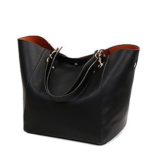 Valleycomfy Women Bag Tote Bag Pu Leather Handbag Shoulder Bag (Black)