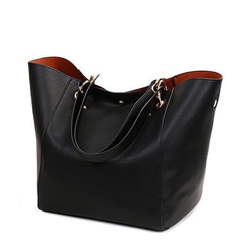 Valleycomfy Damen Tasche Einkaufstasche Pu Leder Handtasche Schultertasche (Schwarz) -