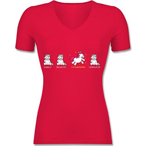 Shirtracer Sonstige Berufe - Tätowiererin Einhorn - Tailliertes T-Shirt mit V-Ausschnitt für Frauen Rot