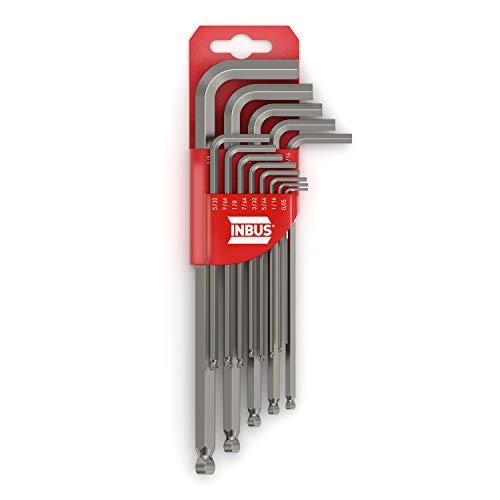 """INBUS® 70433 Inbusschlüssel Zoll Set mit Kugelkopf 13tlg 0.05-3/8"""" Made in Germany Innensechskant-Schlüssel Inch Imperial"""