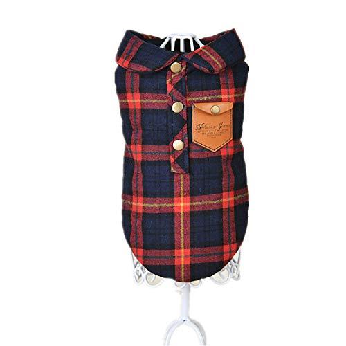 PZSSXDZW Herbst und Winter Karierte Weste Pet Kleidung Teddy-Hundekleidung Hundekostüm Kleidung für Hunde Red Large