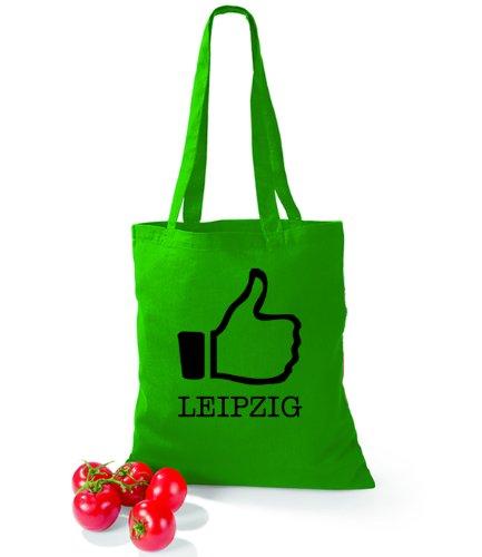 Artdiktat Baumwolltasche I like Leipzig Kelly Green