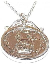 Cinch colgante 1928Lucky Sixpence colgante de plata para 90th cumpleaños plus de plata de ley 18in cadena
