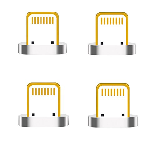 ZRSE Magnetischer Blitzkopf USB-Kabel Adapter für iPhone 5, 5c, 5s, SE, 6, 6 Plus, 6s, 6s Plus, 7, 7 Plus, iPad, iPod, iOS System etc.(iOS head x 4)