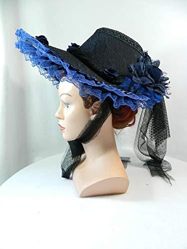 Schute schwarz blau Bonnet Haube Damenhut Gothic Western Steampunk Civil War Biedermeier Hut