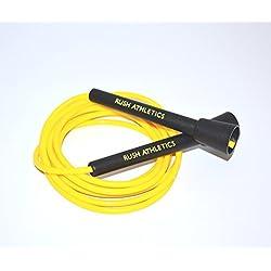 RUSH ATHLETICS - Cuerda de velocidad, mejor para boxeo MMA Cardio Fitness, velocidad y agilidad, ajustable de 3 m, negro y amarillo