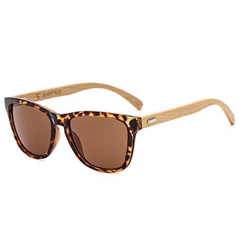 Suertree Cuadrado Bambú Gafas de sol Mujeres Hombres Señoras Vendimia Moda Gafas UV400 JH8002