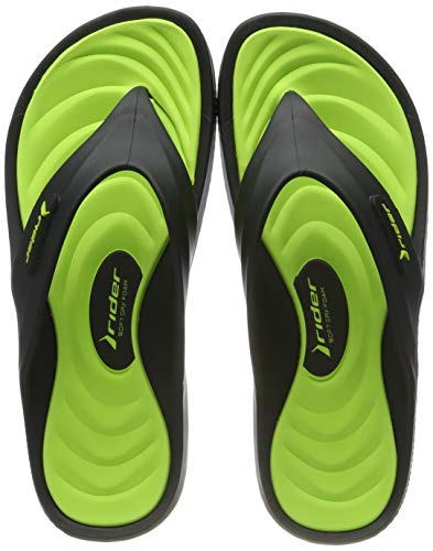 Rider Cape XII Ad, Chanclas Hombre, Black/Green 8338
