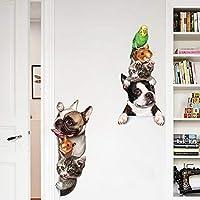 QTZJYLW Creativo DIY Art Etiqueta De La Pared De Dibujos Animados Lindo Pet Cat Dog Voyeur Patrón para La Decoración De La Sala De Estar En Casa Etiqueta De ...