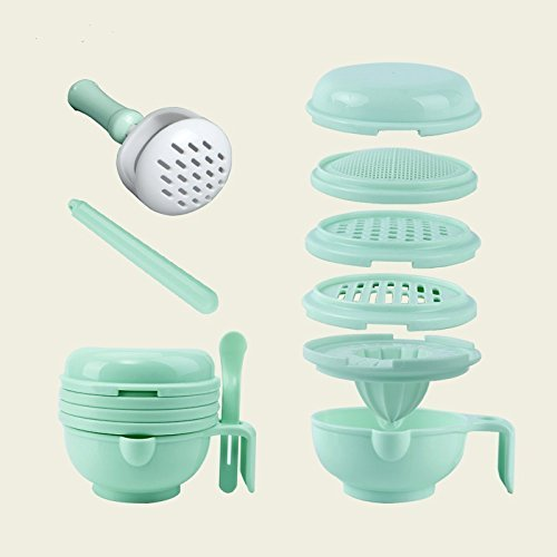 Skudgear 8-in-1 Baby Food Masher + Serve Bowl + Sieve + Juice Maker + Sensitive Spoon + Lid + Mixer Stick (Blue)