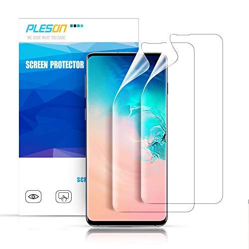 Pleson Samsung Galaxy S10 Schutzfolie, [Neue Installationsmethode] [2 Stück] Galaxy S10 Folie (Nicht Panzerglas), Blasenfreie Bildschirmschutzfolie für Samsung Galaxy S10