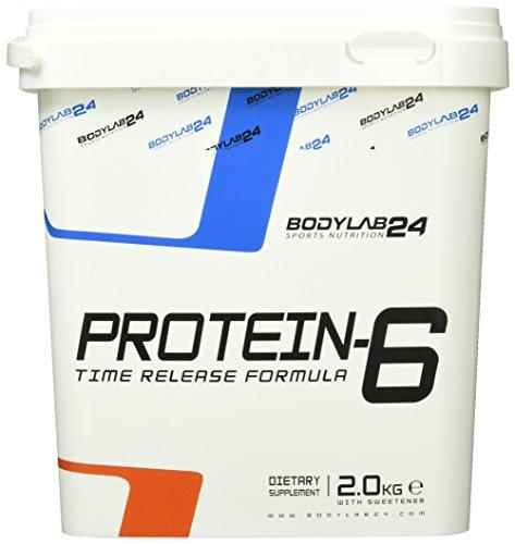 Bodylab24 Protein-6 Geschmack: Banane,   Mehrkomponenten Protein Shake, 6 hochwertige Eiweißquellen für Muskelaufbau und Diät, 2000g Box