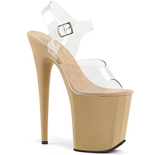 Pleaser FLAMINGO-808 Damen Extrem Plateau Heels, Creme, EU 38 (US 8) (8-zoll-heels Pleaser)