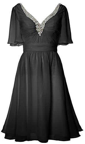 MACloth Women Short Sleeves Mother of Bride Dress V Neck Evening Formal Gown Schwarz