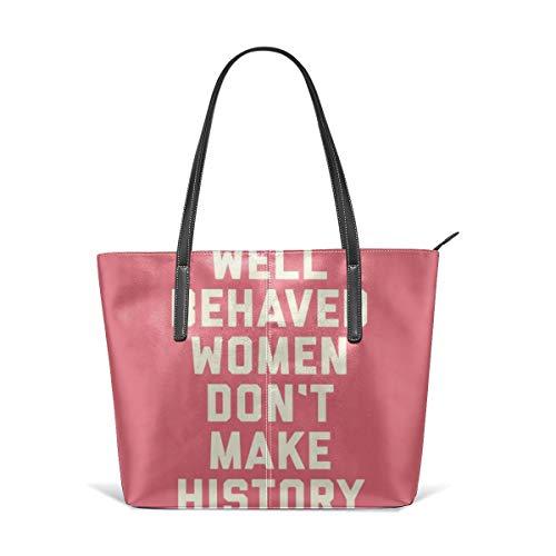 Bolsa de mano de cuero con cita feminista para mujer
