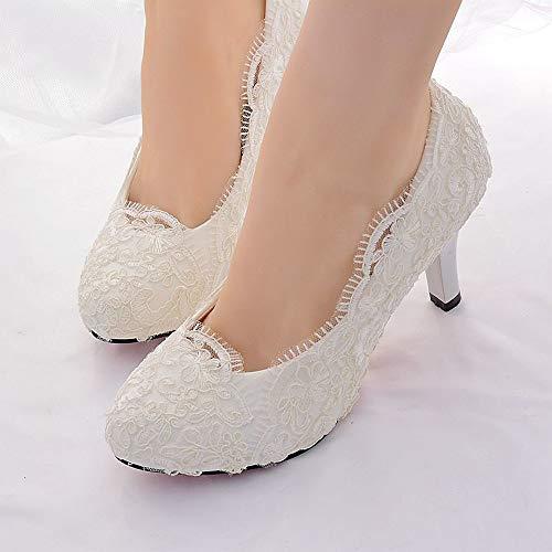 Damenschuhe Lace Spring Summer Slingback/Basic Pump Hochzeitsschuhe Pfennigabsatz Round Toe Weiß, Weiß, US8.5 / EU39 / UK6.5 / CN40 Lace Round Toe Pumps