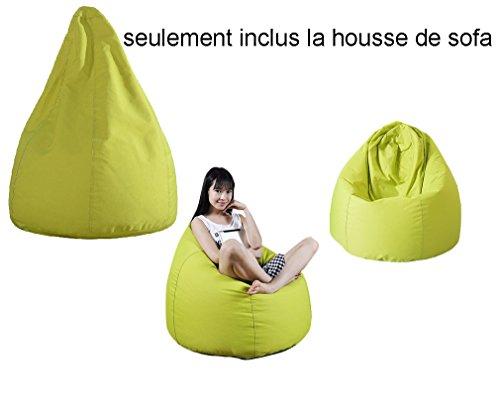 QuWei Designer Chaise Poire Pouf Poire d'intérieur/extérieur Pouf Bean Bag Sofa DIY Canapé Pour Enfants (La housse, Vert)