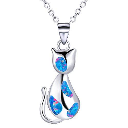 Schön Katze Anhänger Geschaffen Opal Halskette Schick Stil Halsband Kette Schmuck, Mischen Farbe