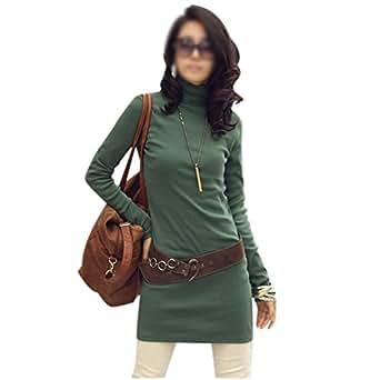 TOOGOO(R) Robes T-shirt Tortue Col Femmes Mode Nouveau Mince Fit Plus de Velours Vetements Chauds Epais Le Vert Fonce M