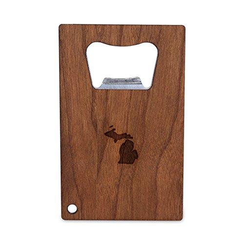 Michigan Holz (Michigan Flaschenöffner mit Holz, Edelstahl Kreditkarte Größe, Flaschenöffner für Portemonnaie, Kreditkarte Größe Flaschenöffner)
