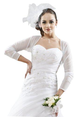 Princess Brautmoden Bolero Jacke Jäckchen aus Stretch-Tüll zum Brautkleid/Abendkleid, 34/36 weiß