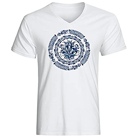 Blue mandala logo dope Men's Vneck T-shirt XX-Large