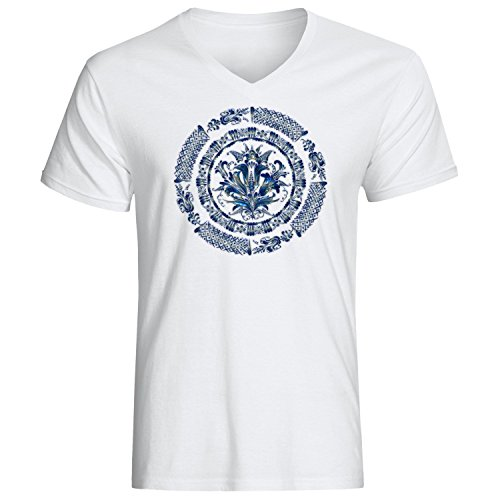 Blue mandala logo dope Men's Vneck T-shirt Weiß