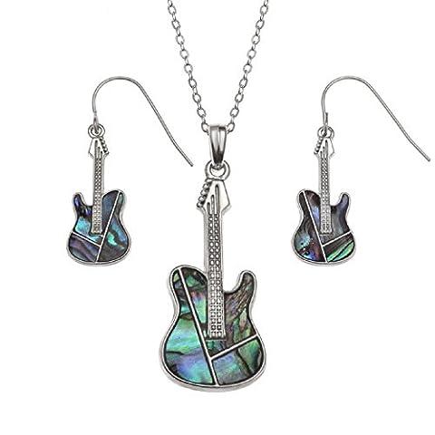 BellaMira Abalone Guitar Necklace & Earrings Set