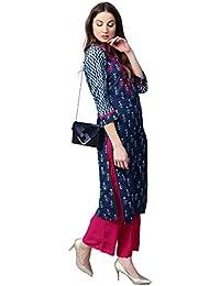 Jaipur Kurti Women Blue & Pink Booti Print Cotton Kurta & Palazzo