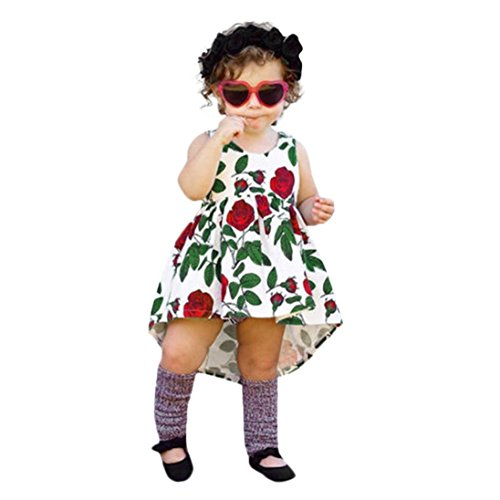 ★ Robe Femmes, Xinan d'été Toddler Enfants Robe Bébé Filles Robe Sans Manches Robe Floral Rose Robe Tenues Vêtements Robe Spaghetti sangle Robe Bandage Sans Manches Robe Sling Dress