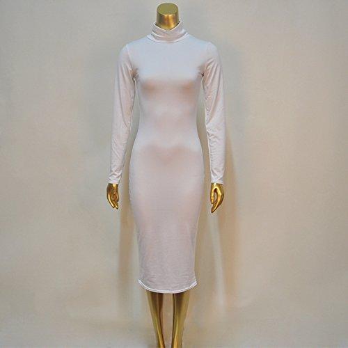 langärmelige rollkragen - paket - kleid m weiß