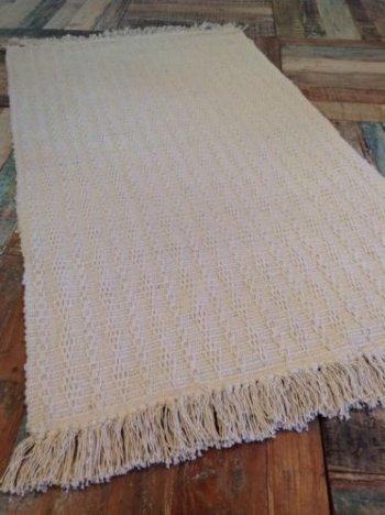 Pequeño (60cm x 90cm Natural Suave algodón Crema Mano Tejidas Al