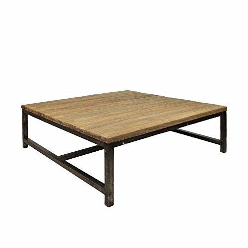 Quadratische Holz-finish Tisch (Wohnzimmertisch aus Teak massiv mit Antik Finish Stahl Breite 100 cm Tiefe 100 cm Pharao24)