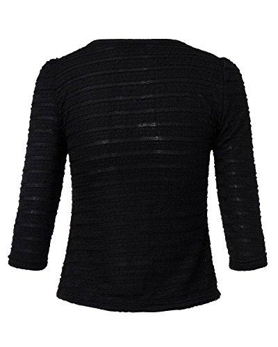 ZANZEA Femmes Manches 3/4 Courtes Costume Veste Extérieur Zipper Cardigan Blouse Noir