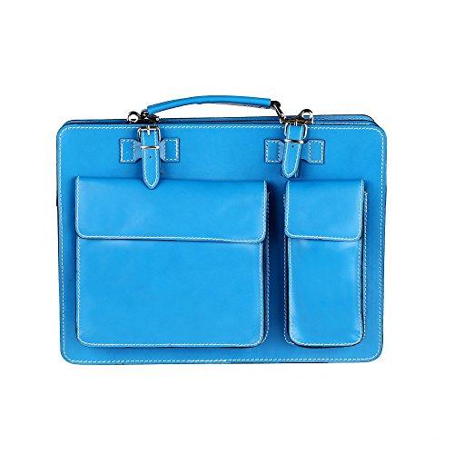 Unisex Aktentasche, Business Handtasche mit Schulterriemen aus echtem Leder Made in Italy Chicca Borse 38x29x11 Cm Türkis